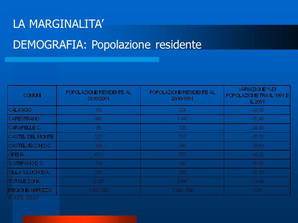 MARGINALITA Indicatori di marginalità utilizzati: Demografia Servizi Attività produttive Livello di vita