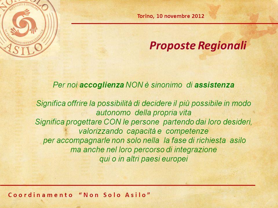 C o o r d i n a m e n t o N o n S o l o A s i l o Torino, 10 novembre 2012 Proposte Regionali Per noi accoglienza NON è sinonimo di assistenza Signifi