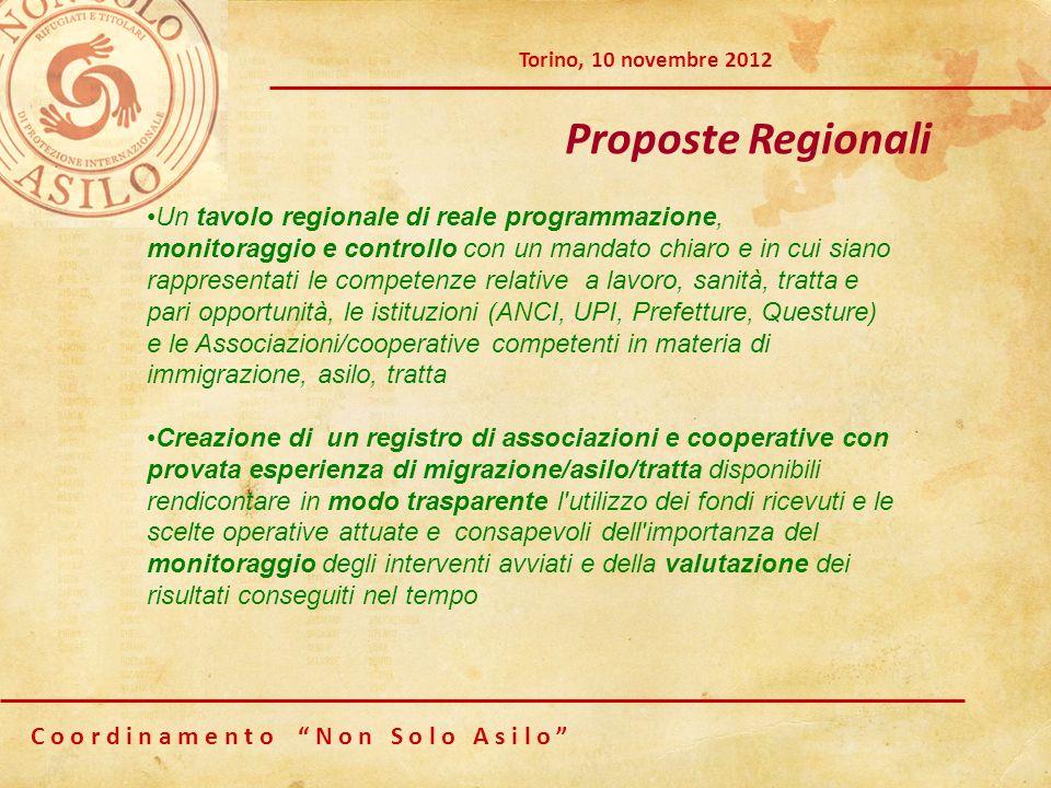 C o o r d i n a m e n t o N o n S o l o A s i l o Torino, 10 novembre 2012 Proposte Regionali Un tavolo regionale di reale programmazione, monitoraggi