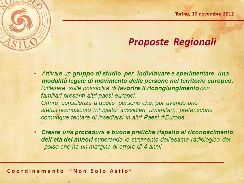 C o o r d i n a m e n t o N o n S o l o A s i l o Torino, 10 novembre 2012 Proposte Regionali Attivare un gruppo di studio per individuare e speriment
