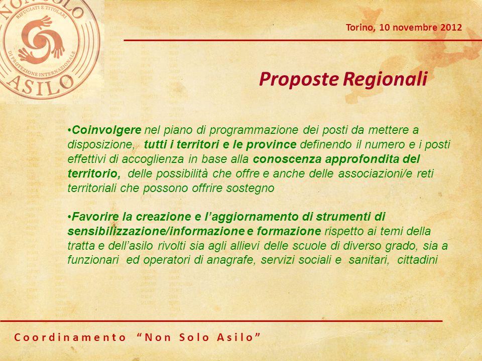 C o o r d i n a m e n t o N o n S o l o A s i l o Torino, 10 novembre 2012 Proposte Regionali Coinvolgere nel piano di programmazione dei posti da met