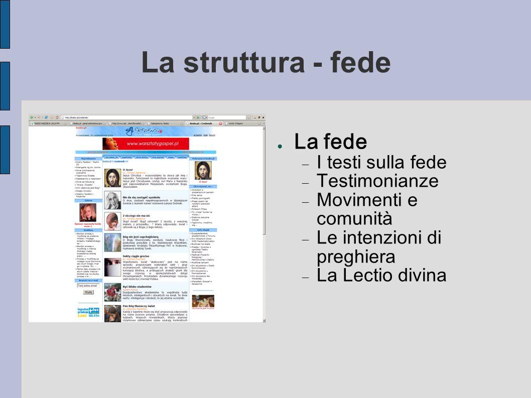 La struttura - fede La fede I testi sulla fede Testimonianze Movimenti e comunità Le intenzioni di preghiera La Lectio divina