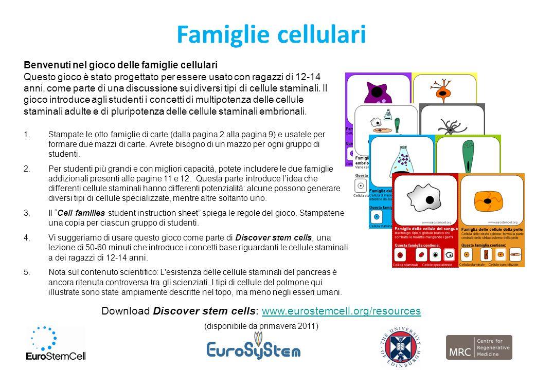 Famiglie cellulari Benvenuti nel gioco delle famiglie cellulari Questo gioco è stato progettato per essere usato con ragazzi di 12-14 anni, come parte