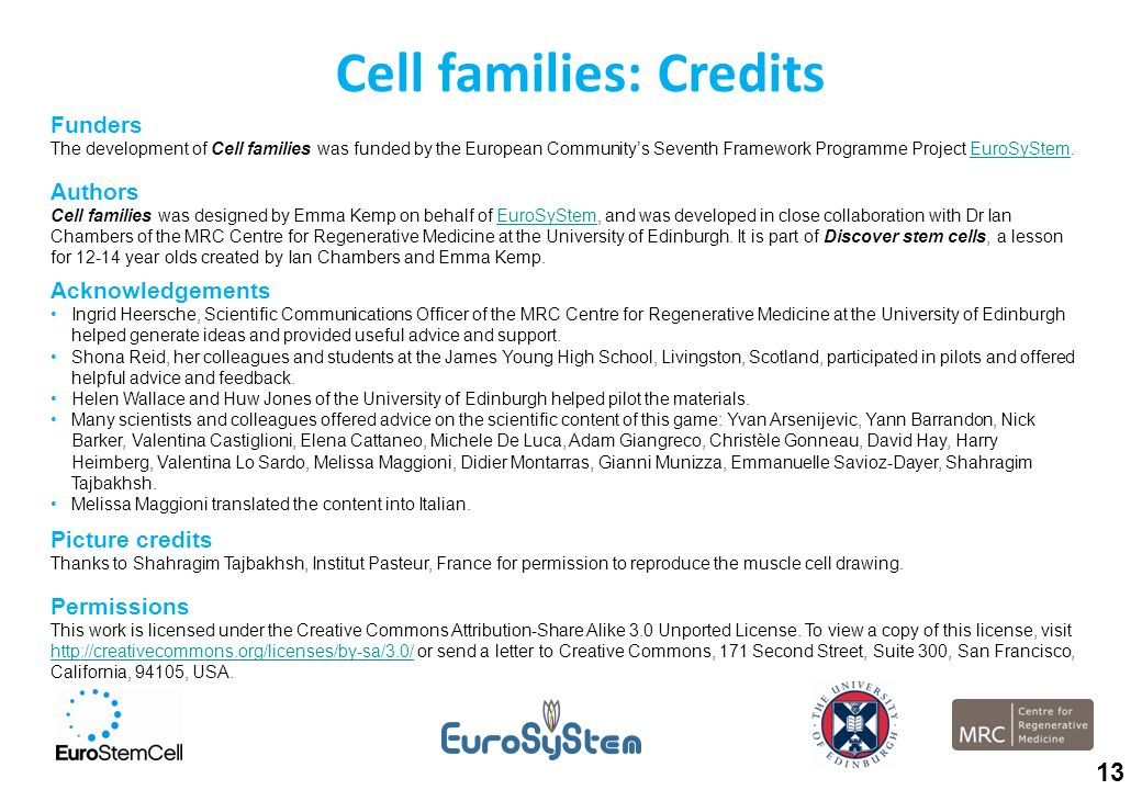 Cell families: Credits Funders The development of Cell families was funded by the European Communitys Seventh Framework Programme Project EuroSyStem.E