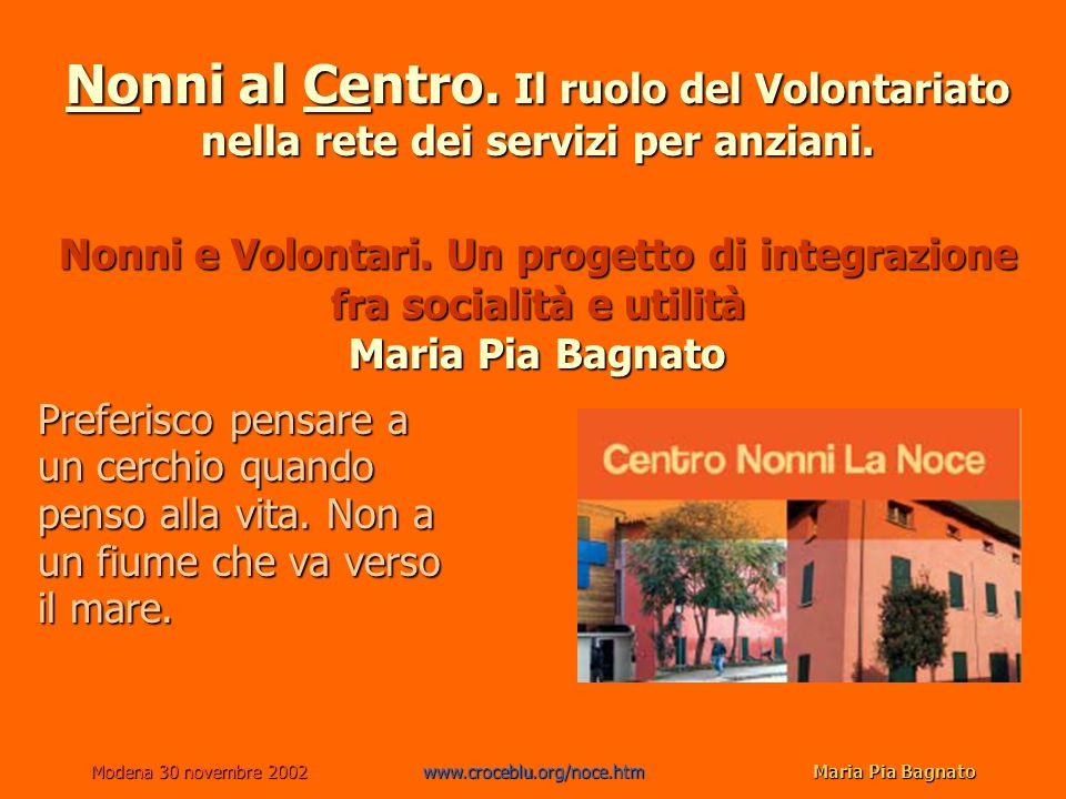 Modena 30 novembre 2002www.croceblu.org/noce.htmMaria Pia Bagnato Sintesi 1.Ipotesi 2.Analisi delle risorse: i volontari e lesperienza dei centri 3.La nostra proposta: il Centro La Noce