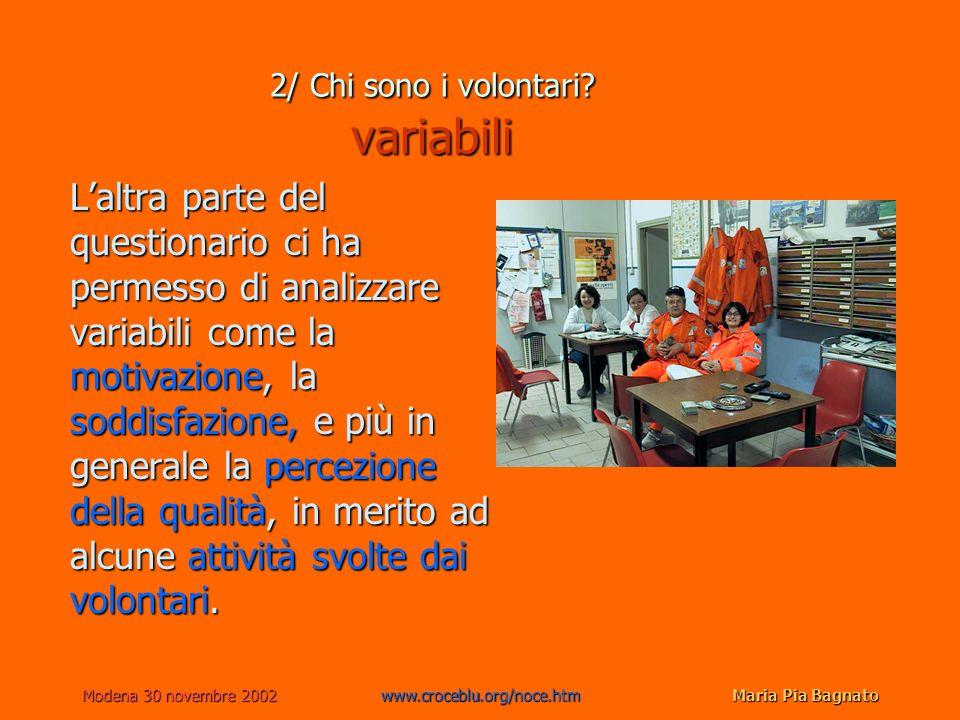 Modena 30 novembre 2002www.croceblu.org/noce.htmMaria Pia Bagnato Laltra parte del questionario ci ha permesso di analizzare variabili come la motivaz
