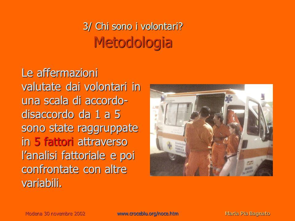 Modena 30 novembre 2002www.croceblu.org/noce.htmMaria Pia Bagnato Le affermazioni valutate dai volontari in una scala di accordo- disaccordo da 1 a 5 sono state raggruppate in 5 fattori attraverso lanalisi fattoriale e poi confrontate con altre variabili.