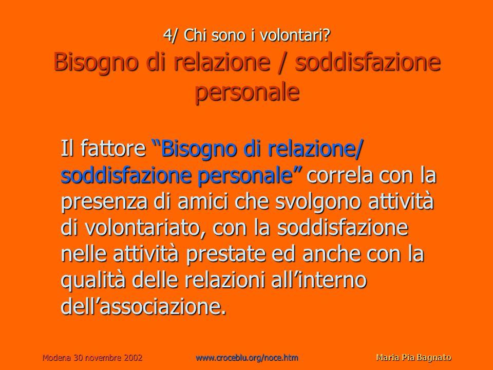 Modena 30 novembre 2002www.croceblu.org/noce.htmMaria Pia Bagnato 4/ Chi sono i volontari? Bisogno di relazione / soddisfazione personale Il fattore B