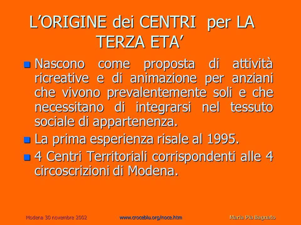 Modena 30 novembre 2002www.croceblu.org/noce.htmMaria Pia Bagnato LORIGINE dei CENTRI per LA TERZA ETA LORIGINE dei CENTRI per LA TERZA ETA n Nascono