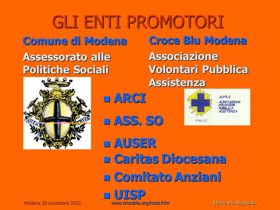 Modena 30 novembre 2002www.croceblu.org/noce.htmMaria Pia Bagnato GLI ENTI PROMOTORI Comune di Modena Assessorato alle Politiche Sociali Croce Blu Mod