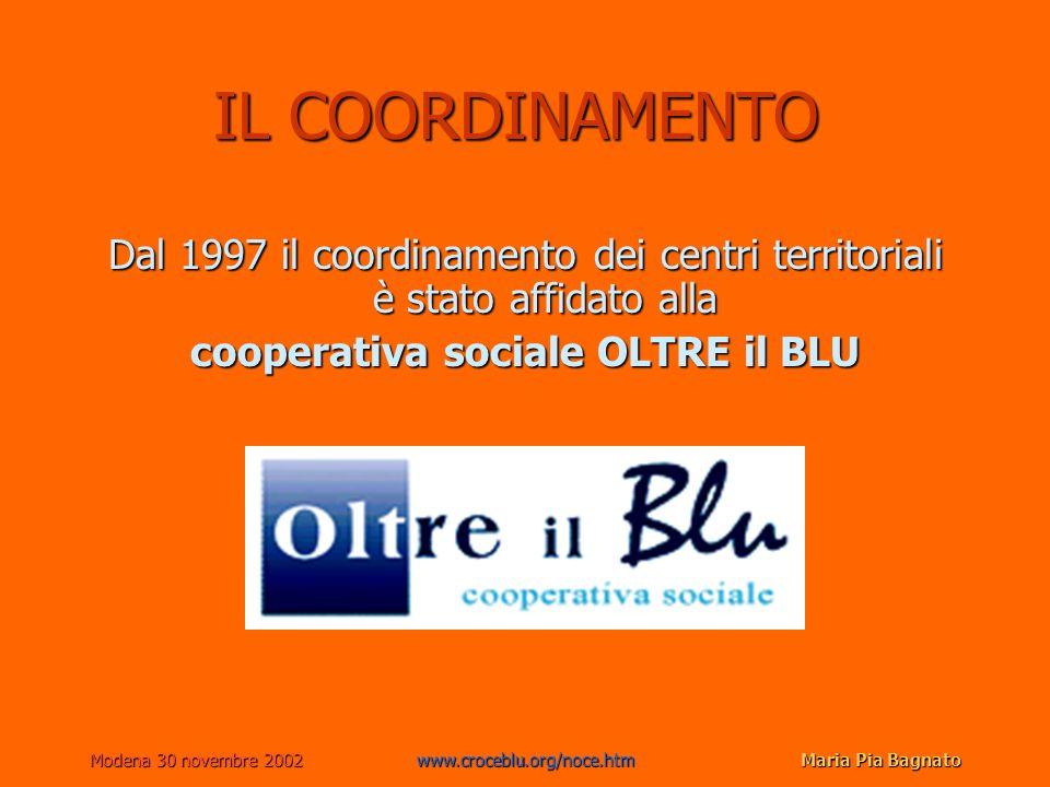 Modena 30 novembre 2002www.croceblu.org/noce.htmMaria Pia Bagnato IL COORDINAMENTO Dal 1997 il coordinamento dei centri territoriali è stato affidato alla cooperativa sociale OLTRE il BLU www.oltreilblu.org