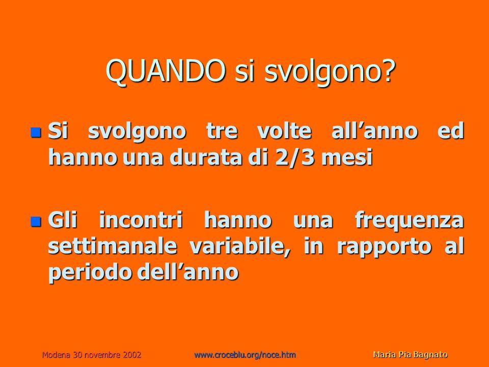 Modena 30 novembre 2002www.croceblu.org/noce.htmMaria Pia Bagnato QUANDO si svolgono? n Si svolgono tre volte allanno ed hanno una durata di 2/3 mesi