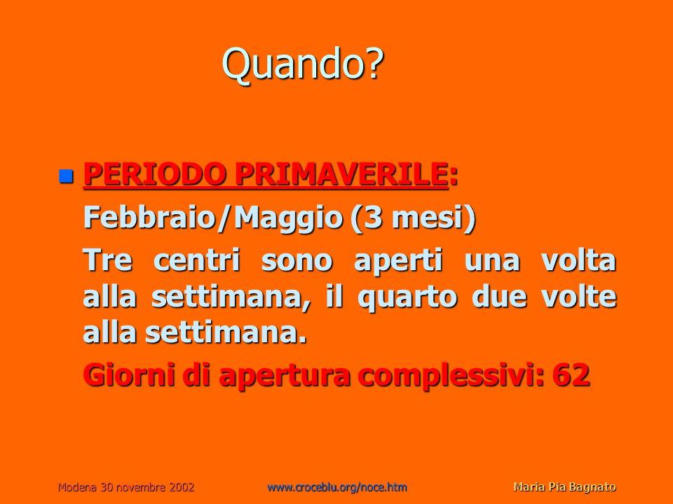 Modena 30 novembre 2002www.croceblu.org/noce.htmMaria Pia Bagnato Quando? n PERIODO PRIMAVERILE: Febbraio/Maggio (3 mesi) Tre centri sono aperti una v