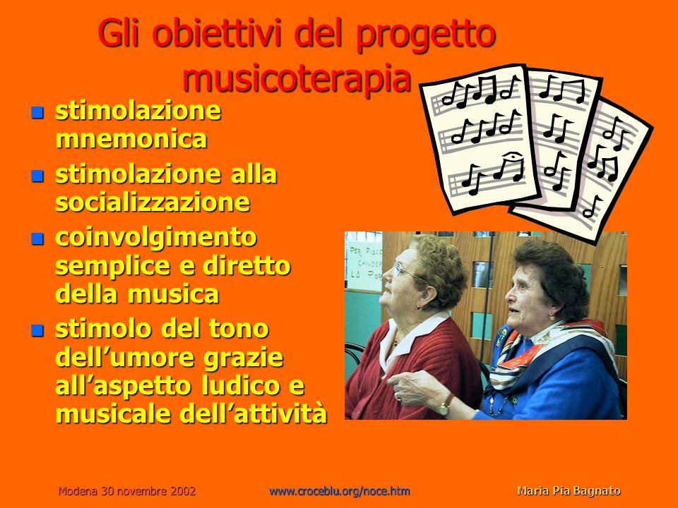 Modena 30 novembre 2002www.croceblu.org/noce.htmMaria Pia Bagnato Gli obiettivi del progetto musicoterapia n stimolazione mnemonica n stimolazione all
