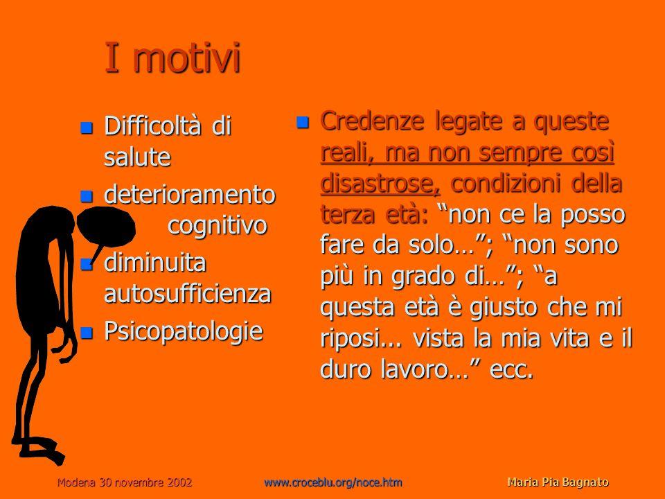 Modena 30 novembre 2002www.croceblu.org/noce.htmMaria Pia Bagnato I motivi n Difficoltà di salute n deterioramento cognitivo n diminuita autosufficien