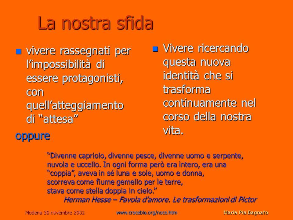 Modena 30 novembre 2002www.croceblu.org/noce.htmMaria Pia Bagnato La nostra sfida n vivere rassegnati per limpossibilità di essere protagonisti, con q