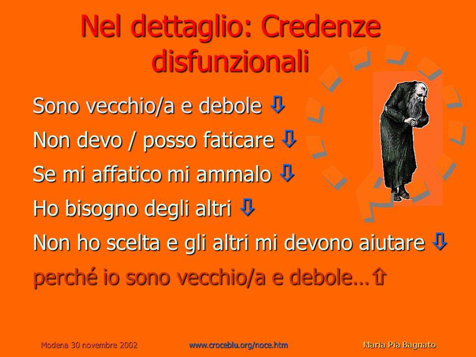 Modena 30 novembre 2002www.croceblu.org/noce.htmMaria Pia Bagnato Nel dettaglio: Credenze disfunzionali Sono vecchio/a e debole Sono vecchio/a e debol
