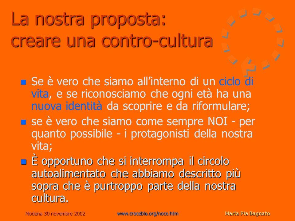 Modena 30 novembre 2002www.croceblu.org/noce.htmMaria Pia Bagnato La nostra proposta: creare una contro-cultura n n Se è vero che siamo allinterno di