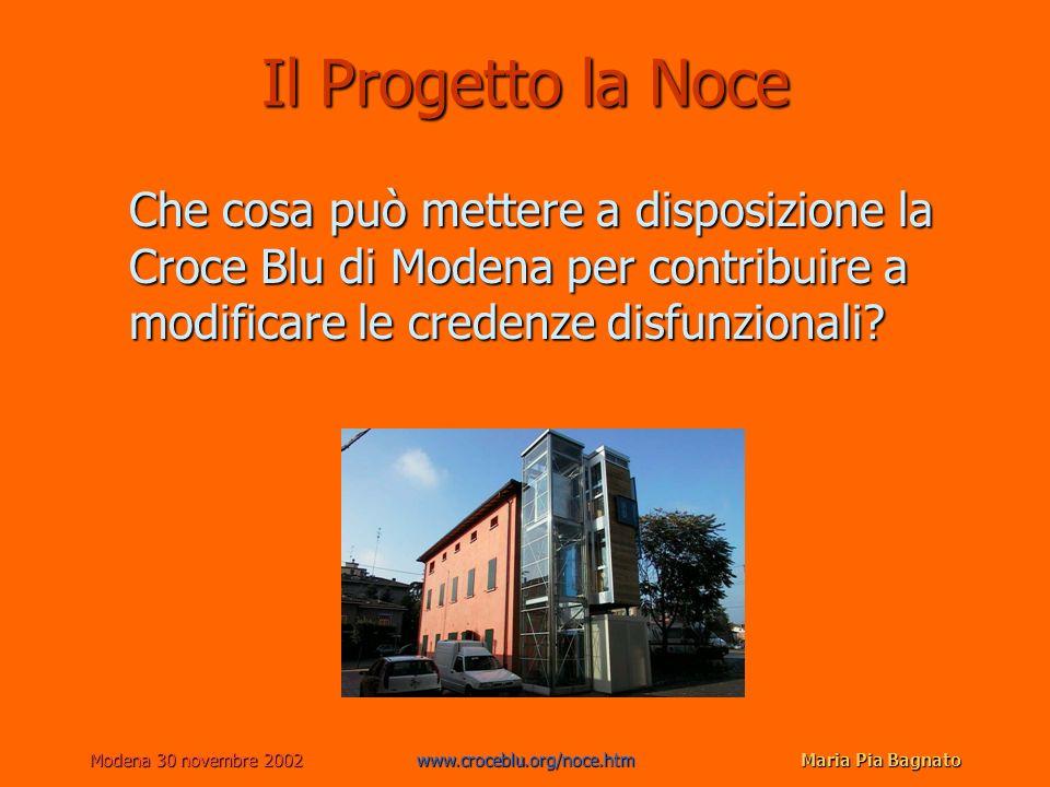 Modena 30 novembre 2002www.croceblu.org/noce.htmMaria Pia Bagnato Il Progetto la Noce Che cosa può mettere a disposizione la Croce Blu di Modena per contribuire a modificare le credenze disfunzionali?