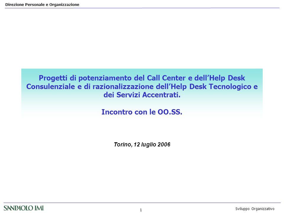 Direzione Personale e Organizzazione 1 Sviluppo Organizzativo Progetti di potenziamento del Call Center e dellHelp Desk Consulenziale e di razionalizz