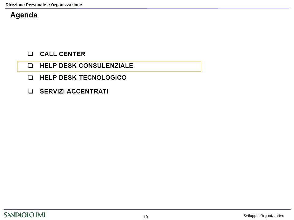Direzione Personale e Organizzazione 10 Sviluppo Organizzativo Agenda CALL CENTER HELP DESK CONSULENZIALE HELP DESK TECNOLOGICO SERVIZI ACCENTRATI