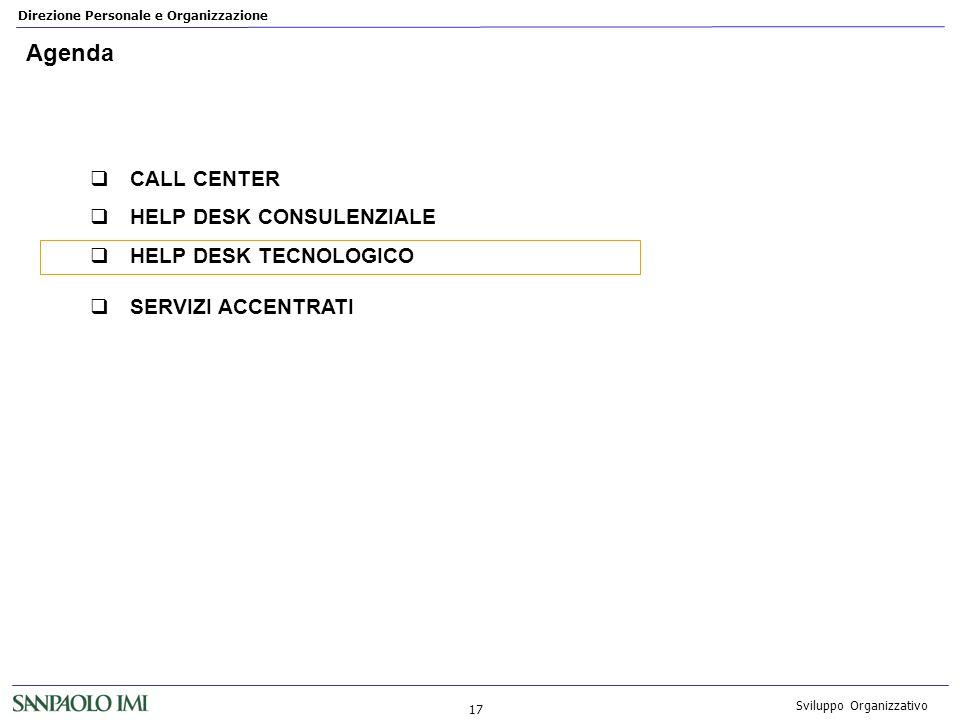 Direzione Personale e Organizzazione 17 Sviluppo Organizzativo Agenda CALL CENTER HELP DESK CONSULENZIALE HELP DESK TECNOLOGICO SERVIZI ACCENTRATI