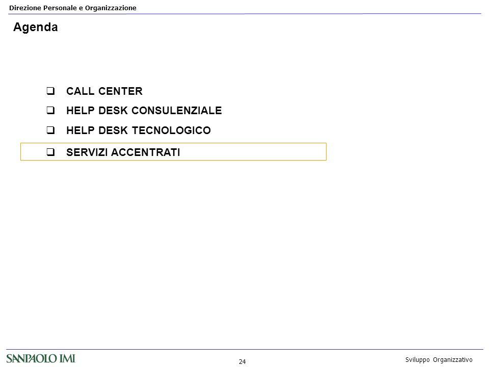 Direzione Personale e Organizzazione 24 Sviluppo Organizzativo Agenda CALL CENTER HELP DESK CONSULENZIALE HELP DESK TECNOLOGICO SERVIZI ACCENTRATI