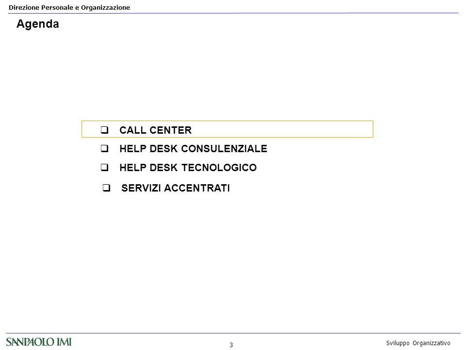 Direzione Personale e Organizzazione 3 Sviluppo Organizzativo Agenda CALL CENTER HELP DESK CONSULENZIALE HELP DESK TECNOLOGICO SERVIZI ACCENTRATI