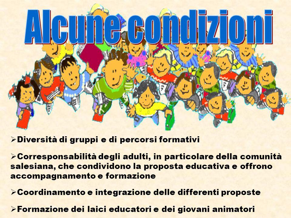Diversità di gruppi e di percorsi formativi Corresponsabilità degli adulti, in particolare della comunità salesiana, che condividono la proposta educativa e offrono accompagnamento e formazione Coordinamento e integrazione delle differenti proposte Formazione dei laici educatori e dei giovani animatori