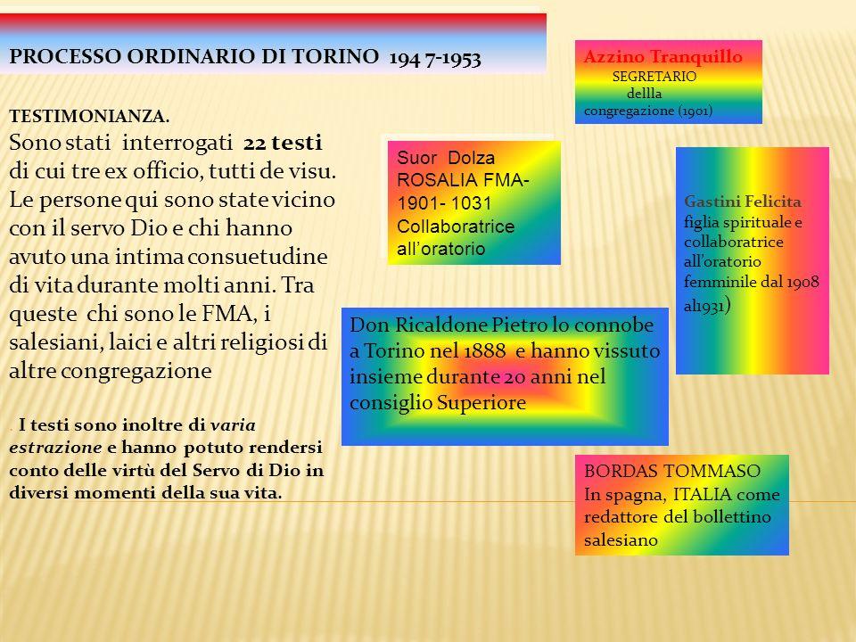 8 SDB 6 FMA 1 altra congregazione 1 sacerdote secolare 6 laici NB nessuno teste contrario fu presentato ma Animadversiones ha rilevato una lacuna nel Processo Ordinario di Torino sugli informazioni rilasciate della vita precedente del servo di Dio.