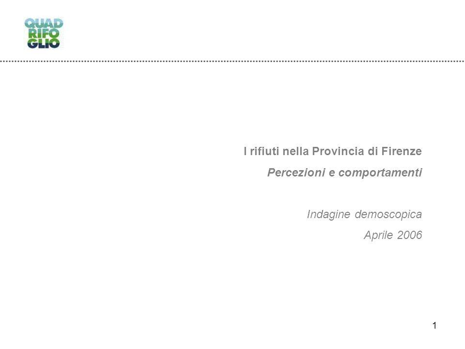 1 I rifiuti nella Provincia di Firenze Percezioni e comportamenti Indagine demoscopica Aprile 2006