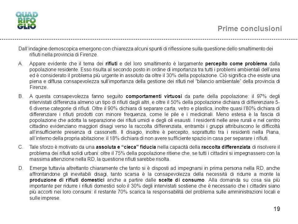 19 Prime conclusioni Dallindagine demoscopica emergono con chiarezza alcuni spunti di riflessione sulla questione dello smaltimento dei rifiuti nella provincia di Firenze.