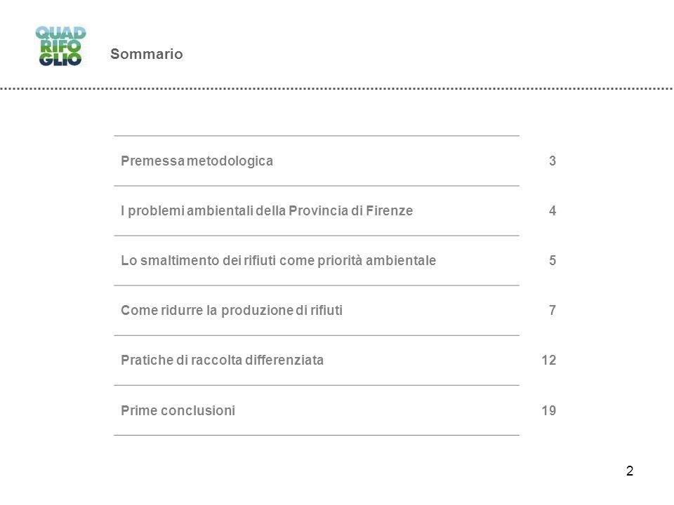 2 Sommario Premessa metodologica3 I problemi ambientali della Provincia di Firenze4 Lo smaltimento dei rifiuti come priorità ambientale5 Come ridurre la produzione di rifiuti7 Pratiche di raccolta differenziata12 Prime conclusioni19