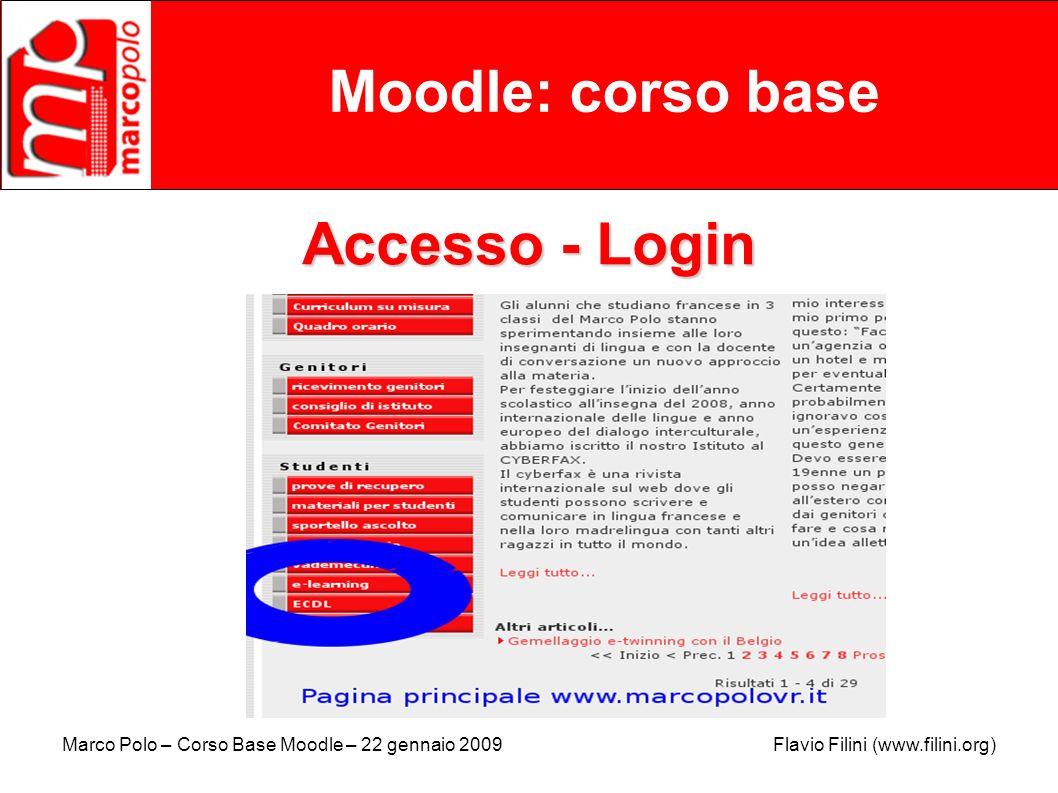 Marco Polo – Corso Base Moodle – 22 gennaio 2009 Flavio Filini (www.filini.org) Moodle: corso base Mettere in linea materiali Il sito di prova vi aspetta !!.
