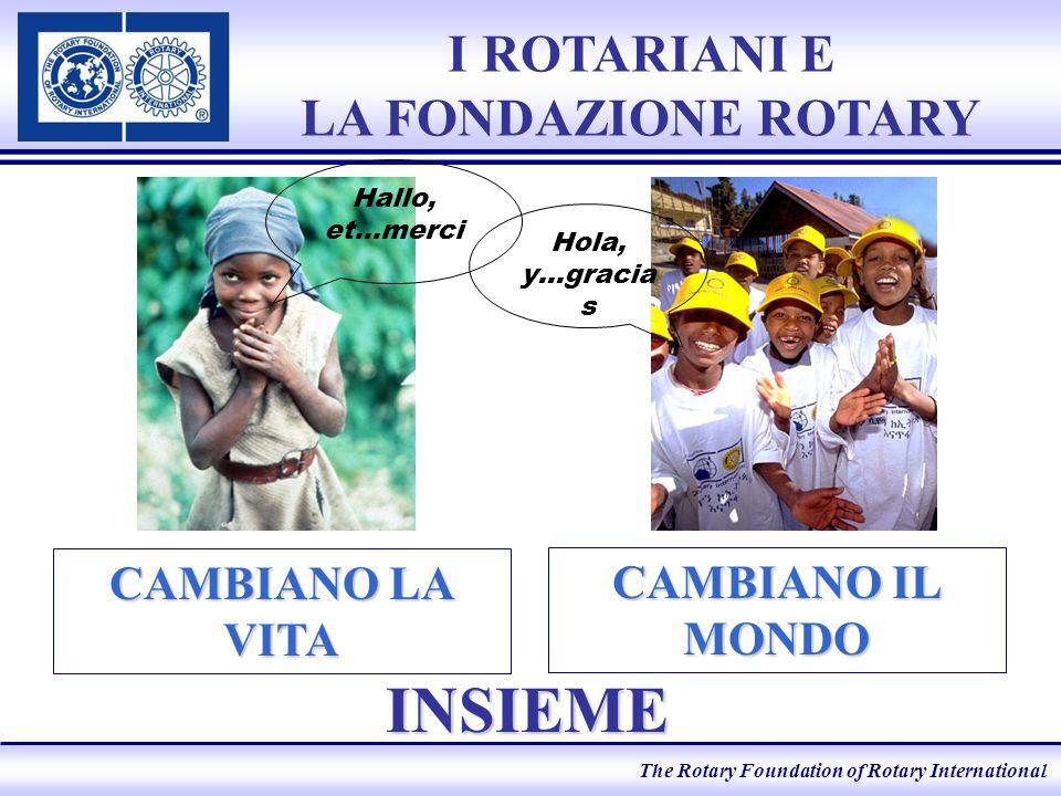 The Rotary Foundation of Rotary International I ROTARIANI E LA FONDAZIONE ROTARY INSIEME CAMBIANO IL MONDO CAMBIANO LA VITA Hola, y…gracia s Hallo, et…merci