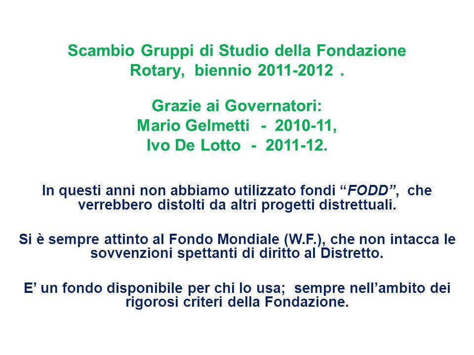 Scambio Gruppi di Studio della Fondazione Rotary, biennio 2011-2012.