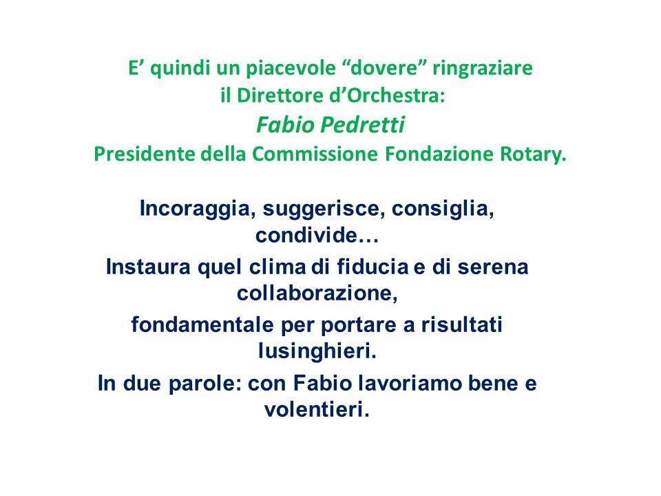 E quindi un piacevole dovere ringraziare il Direttore dOrchestra: Fabio Pedretti Presidente della Commissione Fondazione Rotary.