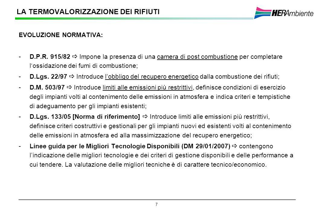 7 EVOLUZIONE NORMATIVA: -D.P.R. 915/82 Impone la presenza di una camera di post combustione per completare lossidazione dei fumi di combustione; -D.Lg
