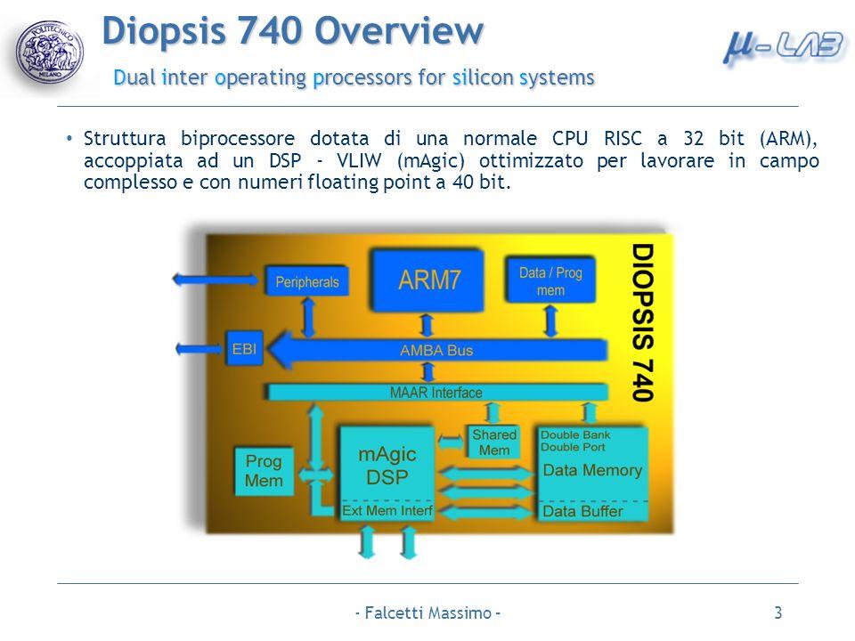 - Falcetti Massimo –3 Diopsis 740 Overview Dual inter operating processors for silicon systems Struttura biprocessore dotata di una normale CPU RISC a