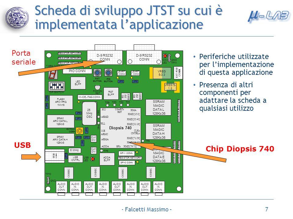 - Falcetti Massimo –7 Scheda di sviluppo JTST su cui è implementata lapplicazione USB Porta seriale Chip Diopsis 740 Periferiche utilizzate per limple
