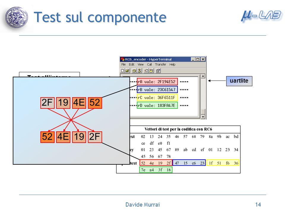 Davide Murrai14 Test sul componente Test allinterno del codice C Utilizzo funzioni del driver uartlite 2F194E52 4E192F