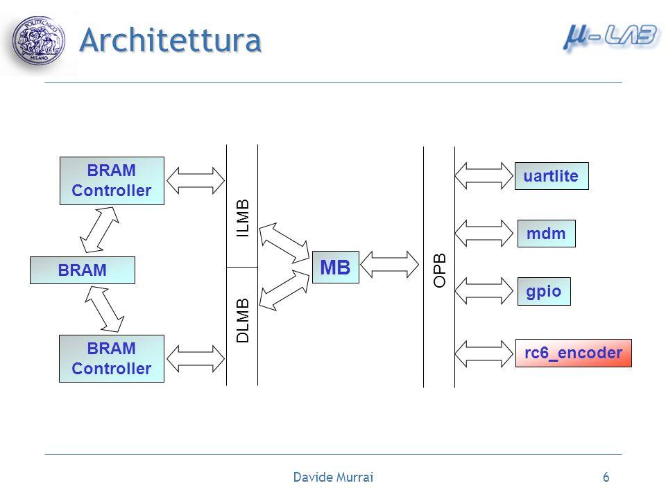 Davide Murrai6 Architettura MB OPB DLMB ILMB BRAM Controller uartlite rc6_encoder mdm gpio BRAM