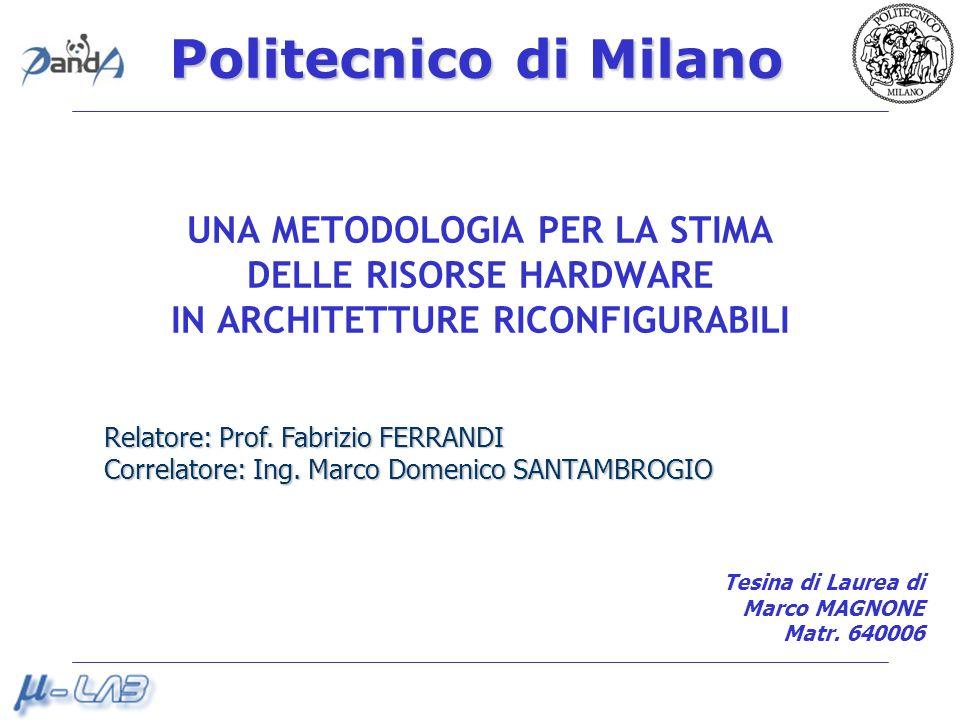 Politecnico di Milano UNA METODOLOGIA PER LA STIMA DELLE RISORSE HARDWARE IN ARCHITETTURE RICONFIGURABILI Relatore: Prof.