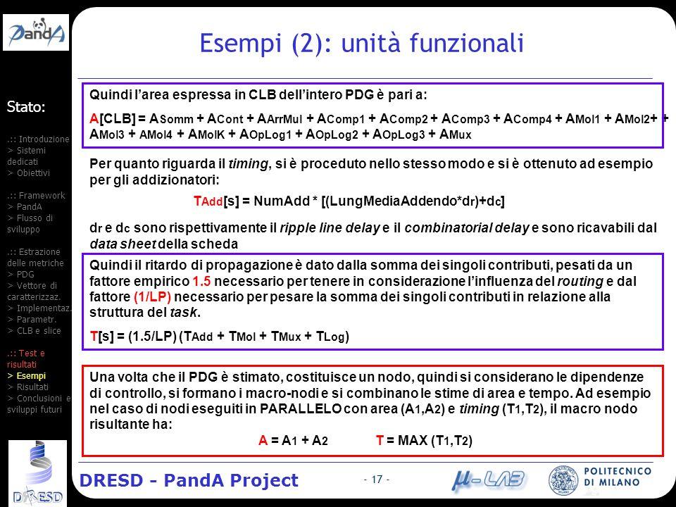 DRESD - PandA Project - 17 - Esempi (2): unità funzionali Quindi larea espressa in CLB dellintero PDG è pari a: A[CLB] = A Somm + A Cont + A ArrMul + A Comp1 + A Comp2 + A Comp3 + A Comp4 + A Mol1 + A Mol2 + + A Mol3 + AMol4 + A MolK + A OpLog1 + A OpLog2 + A OpLog3 + A Mux Per quanto riguarda il timing, si è proceduto nello stesso modo e si è ottenuto ad esempio per gli addizionatori: T Add [s] = NumAdd * [(LungMediaAddendo*d r )+d c ] d r e d c sono rispettivamente il ripple line delay e il combinatorial delay e sono ricavabili dal data sheet della scheda Quindi il ritardo di propagazione è dato dalla somma dei singoli contributi, pesati da un fattore empirico 1.5 necessario per tenere in considerazione linfluenza del routing e dal fattore (1/LP) necessario per pesare la somma dei singoli contributi in relazione alla struttura del task.