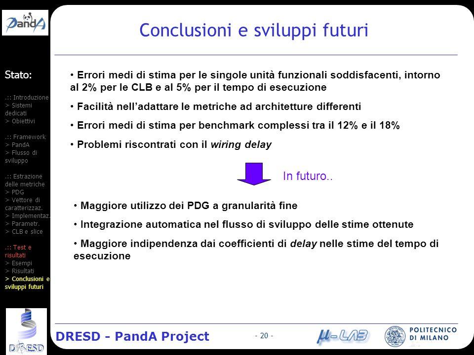 DRESD - PandA Project - 20 - Stato:.:: Introduzione > Sistemi dedicati > Obiettivi.:: Framework > PandA > Flusso di sviluppo.:: Estrazione delle metriche > PDG > Vettore di caratterizzaz.