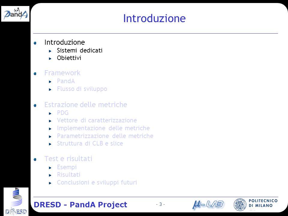 DRESD - PandA Project - 14 - Stato:.:: Introduzione > Sistemi dedicati > Obiettivi.:: Framework > PandA > Flusso di sviluppo.:: Estrazione delle metriche > PDG > Vettore di caratterizzaz.