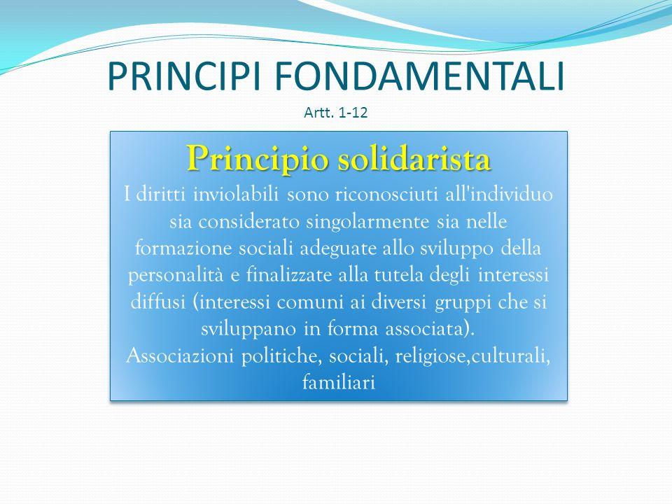 PRINCIPI FONDAMENTALI Artt. 1-12 Principio di uguaglianza (art 3) Tutti i cittadini, senza distinzione di sesso, di razza, di lingua, di religione, di