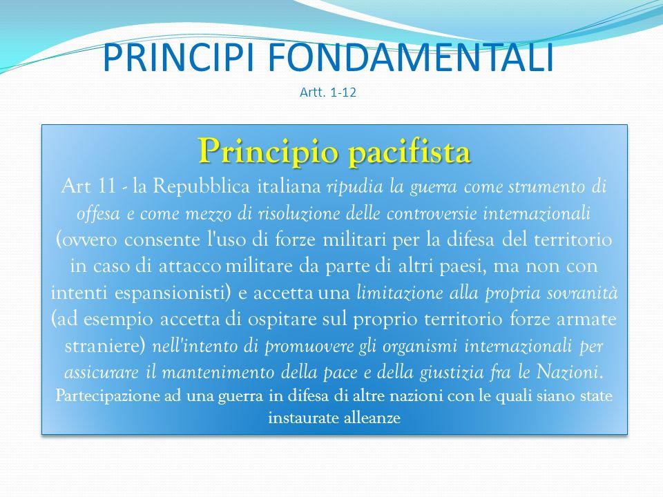 PRINCIPI FONDAMENTALI Artt. 1-12 Principio solidarista I diritti inviolabili sono riconosciuti all'individuo sia considerato singolarmente sia nelle f