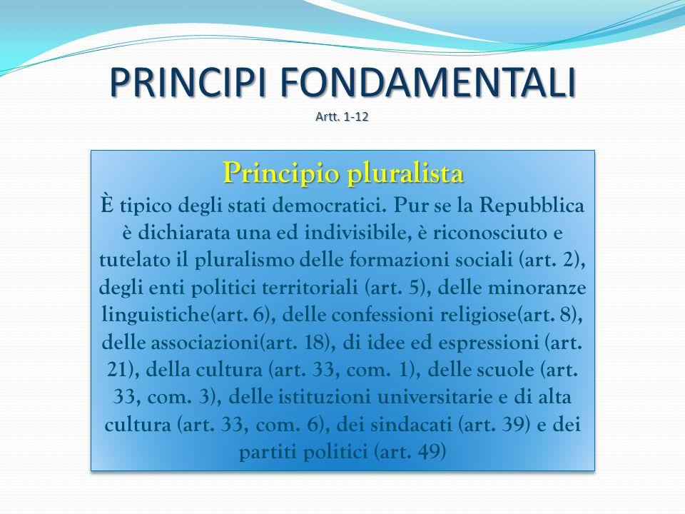Principio di laicità La Costituzione all'art. 7 sancisce che Stato italiano e Chiesa cattolica sono, ciascuno nel proprio ordine, sovrani e indipenden