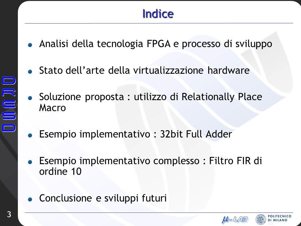 3 Indice Analisi della tecnologia FPGA e processo di sviluppo Stato dellarte della virtualizzazione hardware Soluzione proposta : utilizzo di Relation